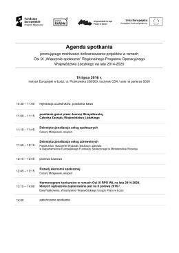 Agenda spotkania 15 lipca 2016 r.