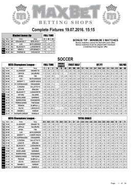 Complete Fixtures 14.07.2016. 21:15 SOCCER