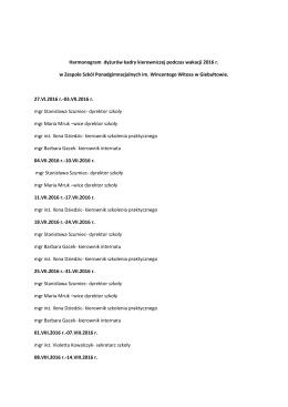 Harmonogram dyżurów kadry kierowniczej podczas wakacji 2016 r