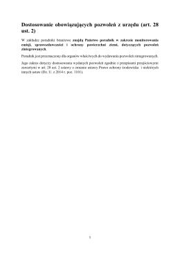 Dostosowanie obowiązujących pozwoleń z urzędu (art. 28 ust. 2)