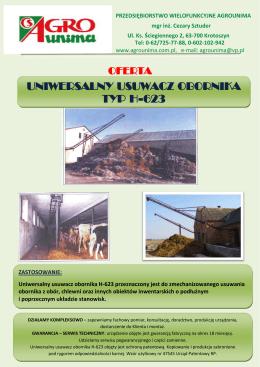Usuwacz obornika - ulotka PDF