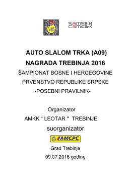 AUTO SLALOM TRKA (A09) NAGRADA TREBINJA 2016