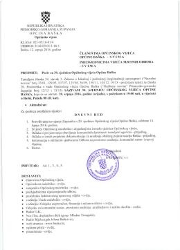 Poziv za 30. sijednicu Općinskog vijeća Općine Baška