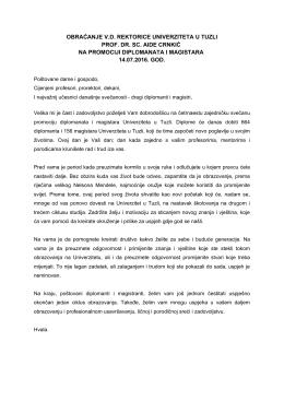 obraćanje vd rektorice univerziteta u tuzli prof. dr