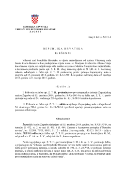 republika hrvatska - Vrhovni Sud Republike Hrvatske