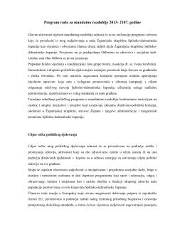 Program rada za mandatno razdoblje 2013- 2107. godine