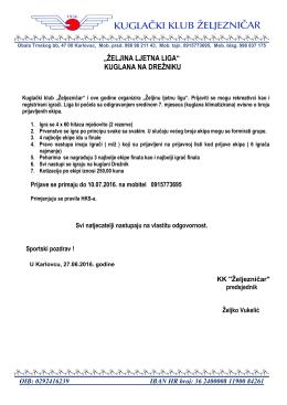 Raspis i propozicije - Kuglački klub Željezničar