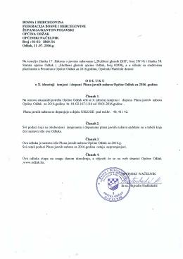 izmjeni i dopuni Plana javnih nabava Općine Odžak za 2016. godinu