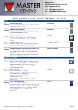 Cjenik opreme za kontrolu pristupa - Geovision