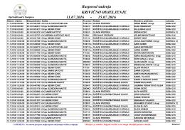 Raspored suđenja po sudskim odjeljenjima