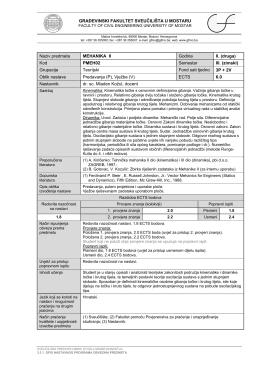 Kod PMEH02 Semestar III. (zimski) - Građevinski fakultet Sveučilišta