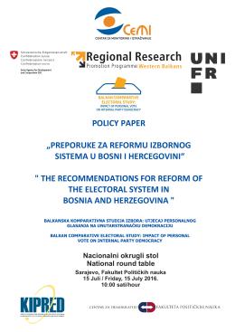 Preporuke za reformu izbornog sistema u Bosni i Hercegovini