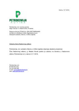 Ostavka člana Nadzornog odbora Petrokemija, d.d. sukladno
