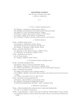 DOKTORSKI KURSEVI 1. Uvod u teoriju reprezentacija • P. Etingof +