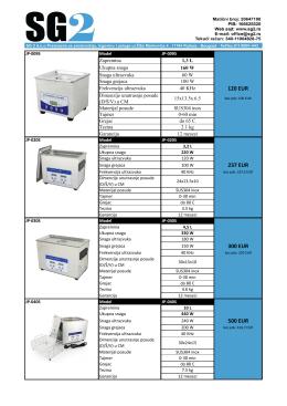 Ultrazvučne kade zapremine od 1.3 do 30 Litara.