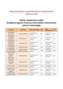 Raspored ispita u septembarskom i oktobarskom roku – MASTER IST