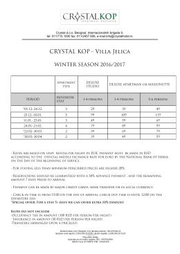 crystal kop cenovnik 2016-17