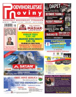 11.7.2016 - Podvihorlatské noviny