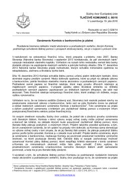 Oznámenie Komisie o bankovníctve je platné - curia