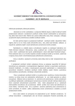 List poslancom VÚC, v ktorom zástupcov VÚC ako