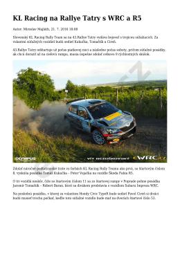 KL Racing na Rallye Tatry s WRC a R5