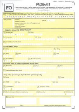 Daňové priznanie k dani z nehnuteľností pre fyzickú osobu (FO