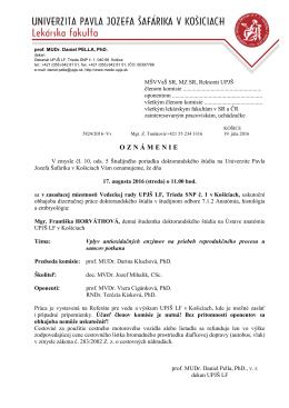 Mgr. Františka HORVÁTHOVÁ - Univerzita Pavla Jozefa Šafárika v