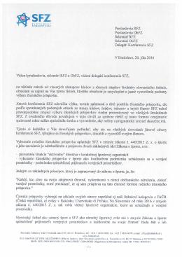 List prezidenta SFZ k objasneniu členského príspevku