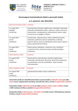 Harmonogram komisionálnych skúšok a opravných skúšok za 2