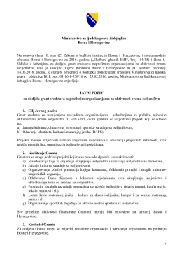 Javni poziv - Ministarstvo za ljudska prava i izbjeglice