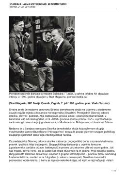 iz arhiva - alija izetbegović: mi nismo turci
