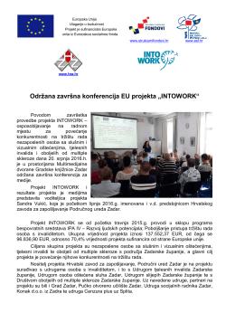 """Održana završna konferencija EU projekta """"INTOWORK"""""""