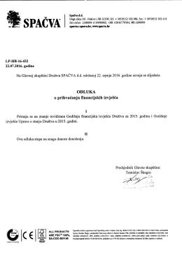 Spačva d.d. Vinkovci - odluke Glavne skupštine