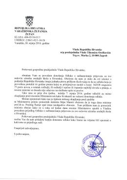 Dopis premijer Orešković