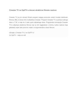 Cinestar TV na OptiTV-u donosi atraktivne filmske naslove