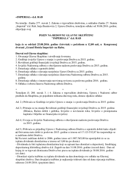 Poziva za Glavnu skupštinu 25.08.2016.