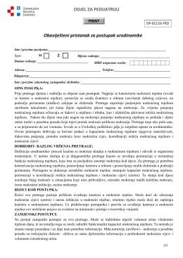 ODJEL ZA PEDIJATRIJU Obaviješteni pristanak za postupak