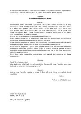 Pravilnik o izmjenama Pravilnika o studiju (18.7.2016.)