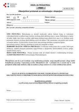 ODJEL ZA PEDIJATRIJU Obaviješteni pristanak za rektoskopiju s