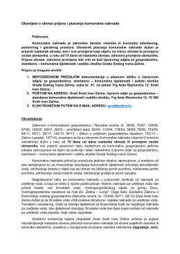 Obavijest o obvezi prijave i plaćanja komunalne naknade