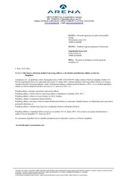 Obavijest o održanoj sjednici upravnog odbora