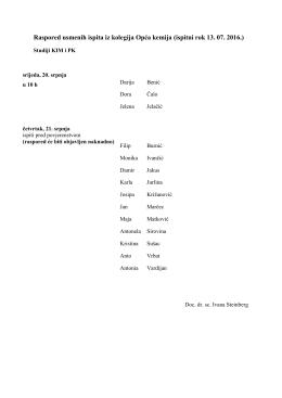Raspored usmenih PK KIM 130716