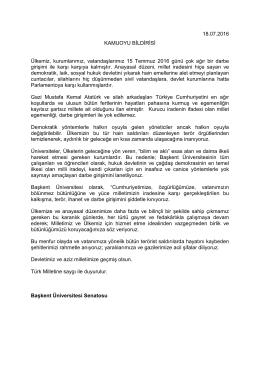 Kamuoyu Bildirisi - Başkent Üniversitesi