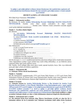 Sözleşme Tasarısı - Antalya Defterdarlığı