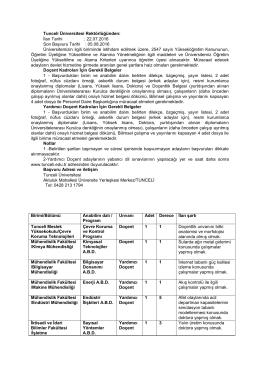 Tunceli Üniversitesi Öğretim Üyesi Alım İlanı