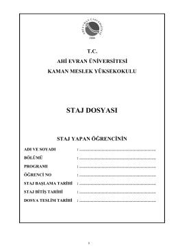 staj dosyası - Ahi Evran Üniversitesi