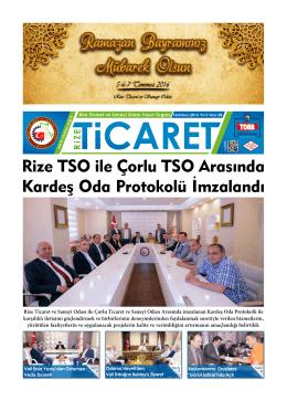 Rize TSO ile Çorlu TSO Arasında Kardeş Oda Protokolü İmzalandı