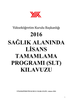2016 sağlık alanında lisans tamamlama programı (slt)