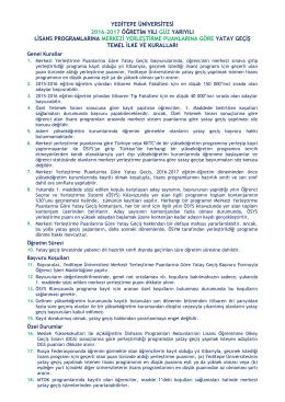 Yeditepe Üniversitesi 2016-2017 Öğretim Yılı Güz Yarıyılı Lisans