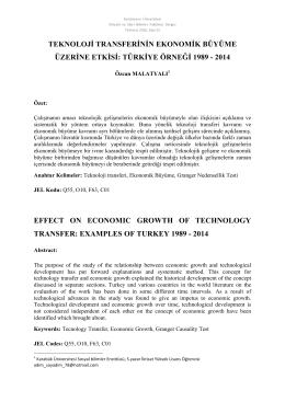 teknoloji transferinin ekonomik büyüme üzerine etkisi: türkiye örneği